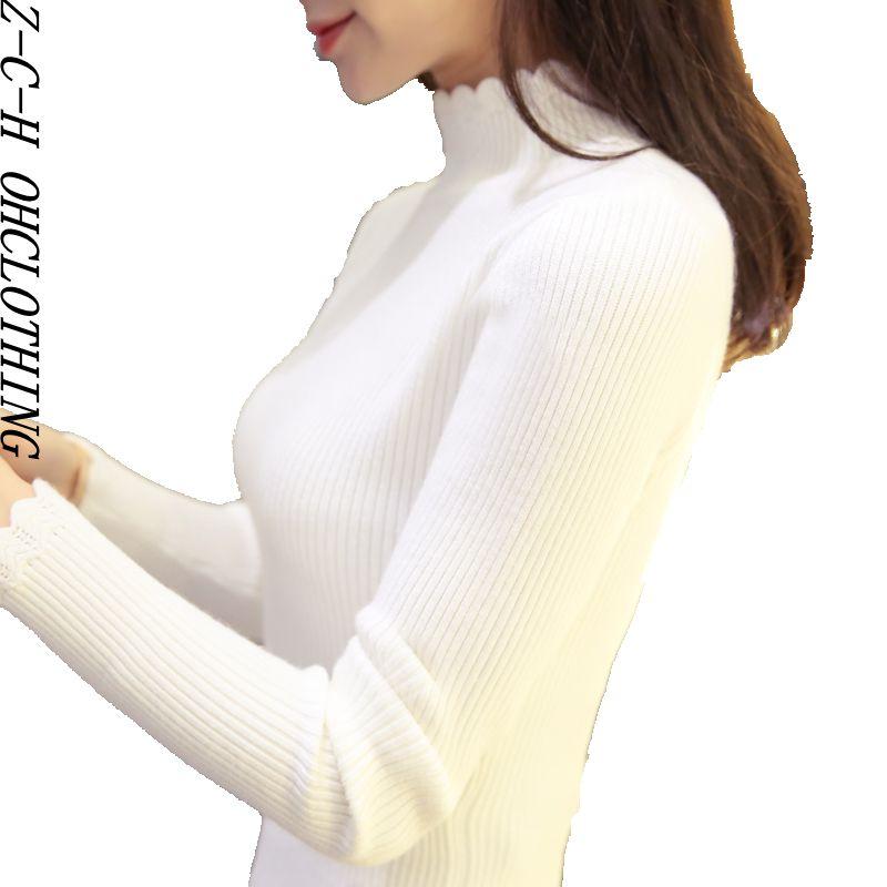 Corea del suéter de invierno femenina cabeza de la manga la mitad del cuello alt