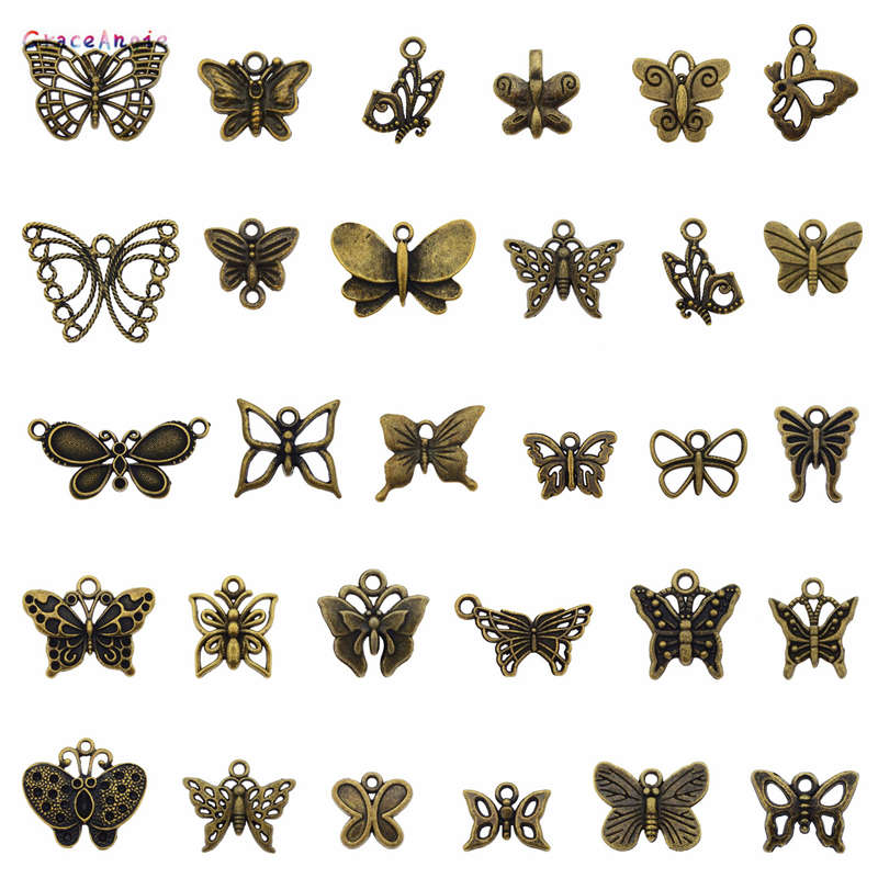 18Pcs Antiqued Silver Tone Animal Tiny Butterfly Charms Pendants Connectors 14mm