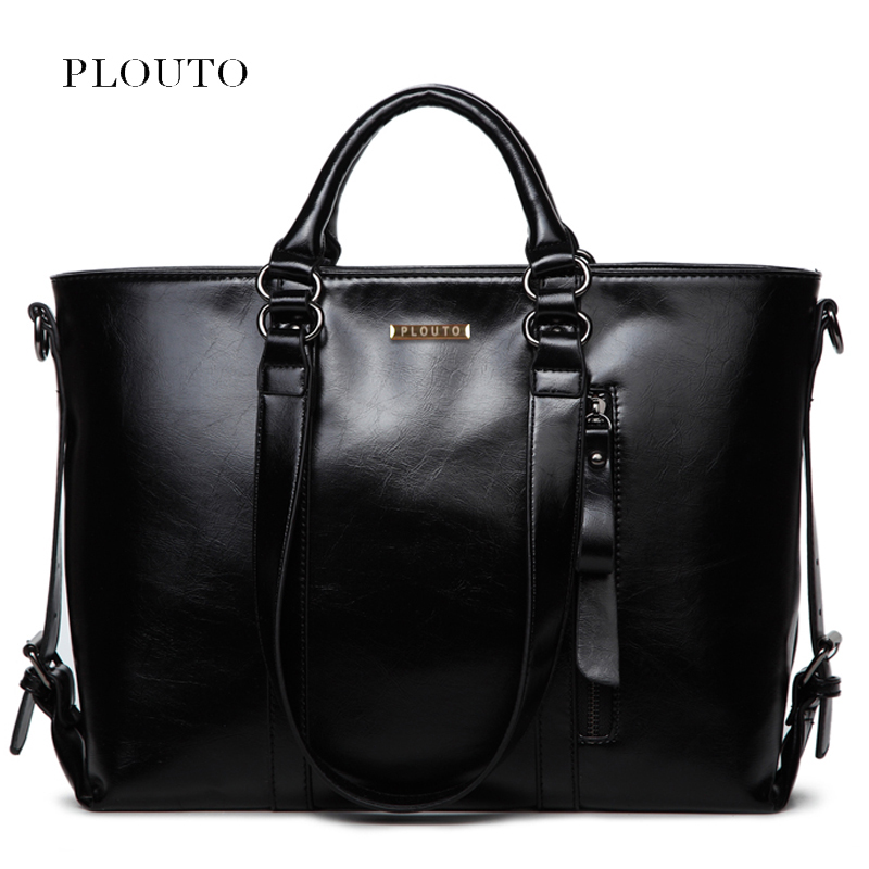 Plouto Luxury Women Large Leather Bags Handbag With Pockets Shoulder Bag Female Casual Tote For Elegent