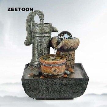 220V Resin Mini LED Water Fountain Landscape Feng Shui Furnish Desktop Bonsai Nebulizer Humidifier Atomizer Creative Lucky Gift