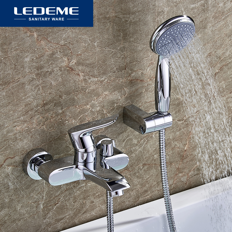 LEDEME Bathtub Faucet Shower Set Chrome Plated Brass Short Outlet Pipe Bath Faucet Waterfall Bathroom Bathtub Faucet L3234