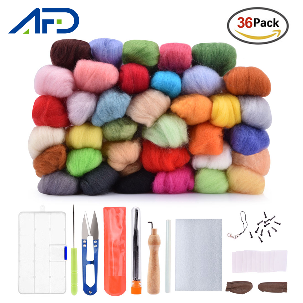 Needle Felting Kit 36/50 Colors Wool Fibre Roving High Wool Craft Material  Wool Felt With Needles Tools DIY Art Handwork Craft