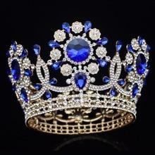גדול גביש חתונת כלה נזר כתר הכלה כיסוי ראש נשים מלכת נשף נזר שיער קישוטי ראש תכשיטי אבזרים