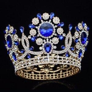 Image 1 - Büyük kristal düğün gelin tacı taç gelin başlığı kadınlar kraliçe balo Diadem saç süsler kafa takı aksesuarları