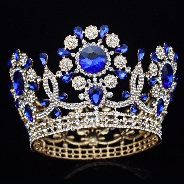 Grande casamento de cristal tiara coroa noiva headpiece feminino rainha baile diadem ornamentos cabelo cabeça jóias acessórios