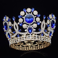 Large Crystal Gold/Silver Wedding Bridal Tiara Crown Bride Headpiece Women Prom Diadem Hair Oranments Head Jewelry Accessories
