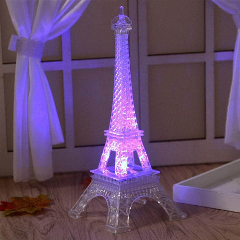 Colorful Eiffel Tower Paris Style Decoration LED Night Light Fashion Bedroom Table Lamp Acrylic