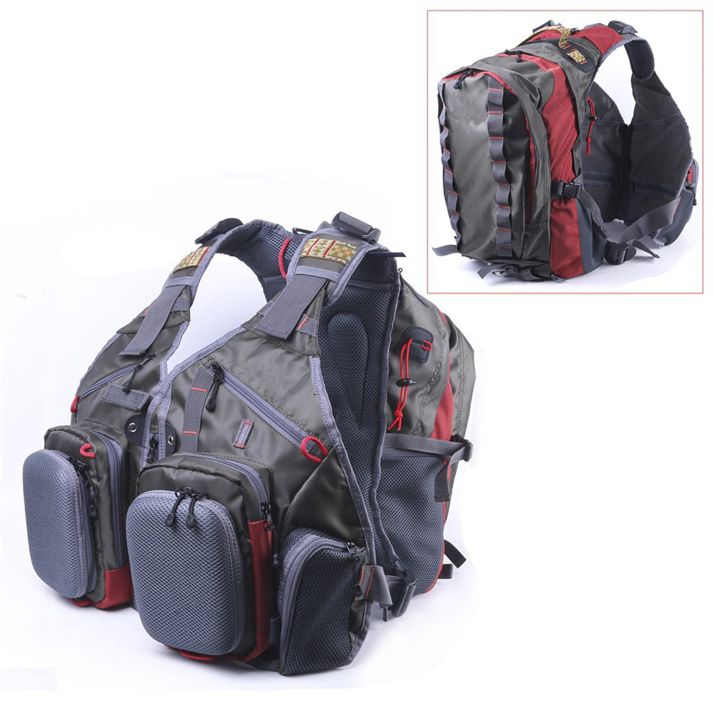 High Quality Fly Fishing Vest Muti-Functional Outdoor Sports Heavy Duty MultiPocket Backpack Bag Army Green Fish Accessory