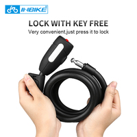 INBIKE 1.8m Anti Theft Bike Folding Lock Cycling Bicycle Wheel Lock Steel Wire Security MTB Road Motorcycle Bicycle Cable Lock