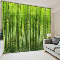 Classic Home Decor Photo Customize Size Green Forest Blackout Curtains For Bedroom