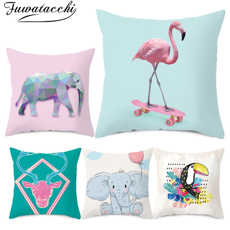 Fuwatacchi Animals Cushion Cover Printed Polyester Pillow for Home Chair Decoration Throw Pillowcases 45cmX45cm