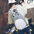 2017 Moda de nueva Mujeres Mochila Diseñadores Marca para Adolescente bolso de escuela Encantador de Alta calidad de lona impresa bolsa de conejo