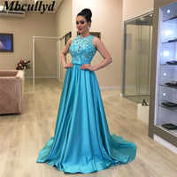 Mbcullyd African Long Prom Dresses 2019 Sheer Blue Lace Appliques Girls Party Gowns Cheap Plus Size Formal vestidos de festa