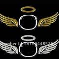 (10 pieces /lot  )Wholesale 3d angel wing Car badges stickers gold silver red Car-styling