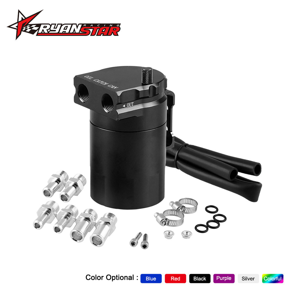 Red HELLO BAMBOO Universal Car Oil Catch Can Kit Reservoir Tank 300ml with Breather Aluminum Compact Dual Cylinder Polish Baffled Engine Air Oil Separator Tank Reservoir Kit