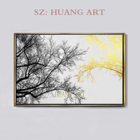 Selling handmade oil painting scenery best gold tree pole rich modern lobby cafe poster abstract paintings decorated hall