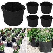 5 adet bitki büyümek çanta kumaşı tencere yıkanabilir ve yeniden kullanılabilir Hydroponic büyümek tencere bitki çantası koruma sebze çanta olmayan dokuma