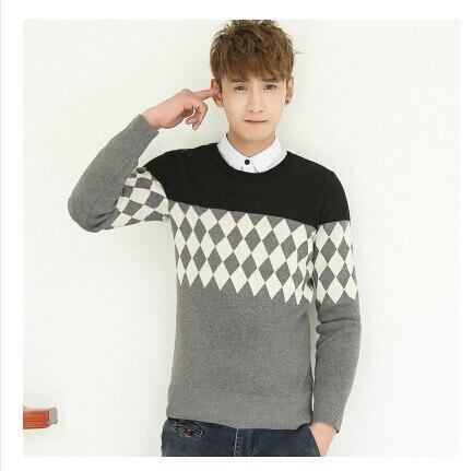 Мужская одежда пуловер с круглым вырезом свитер осень и зима свитер мода плюс бархат утолщение основной мужские пуловеры - Цвет: Черный