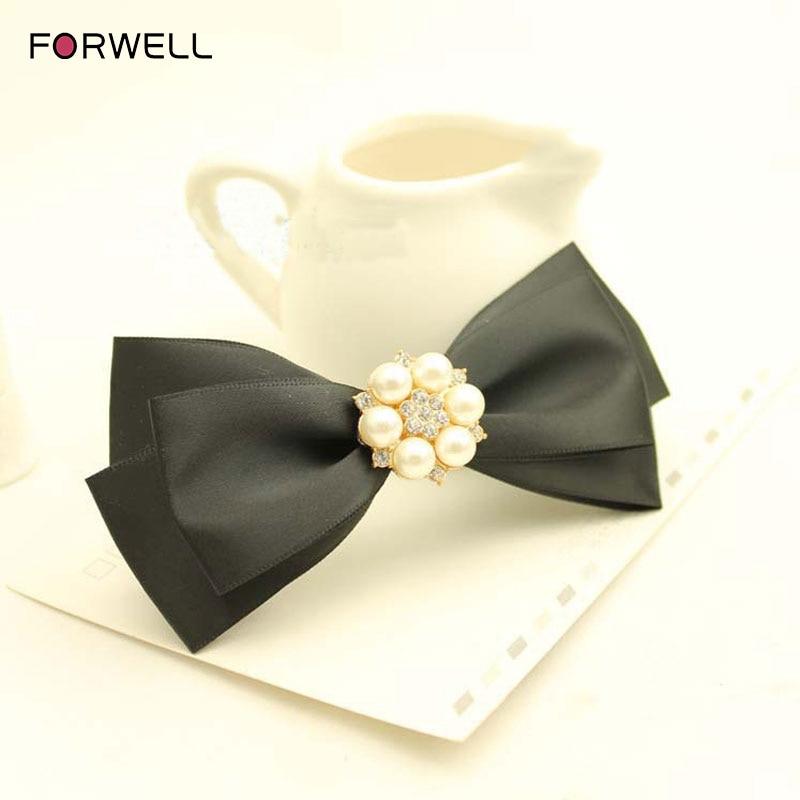 FORWELL Graceful women hairpins wedding hair accessories pearl flower shape beaded cloth bow hair clip head flower tiara bride
