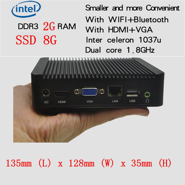 Promotional 100% Brand-New Computer Mini PC Linux  Celeron 1037U 1.8G Dual Core 2G Ram 8G MSata SSD For Windows 7 Windows 8