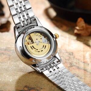 Image 5 - الفاخرة مضيئة التنين الهيكل العظمي التلقائي ساعات آلية للرجال ساعة معصم الفولاذ الذهب الأسود ساعة مقاوم للماء للرجال relogio