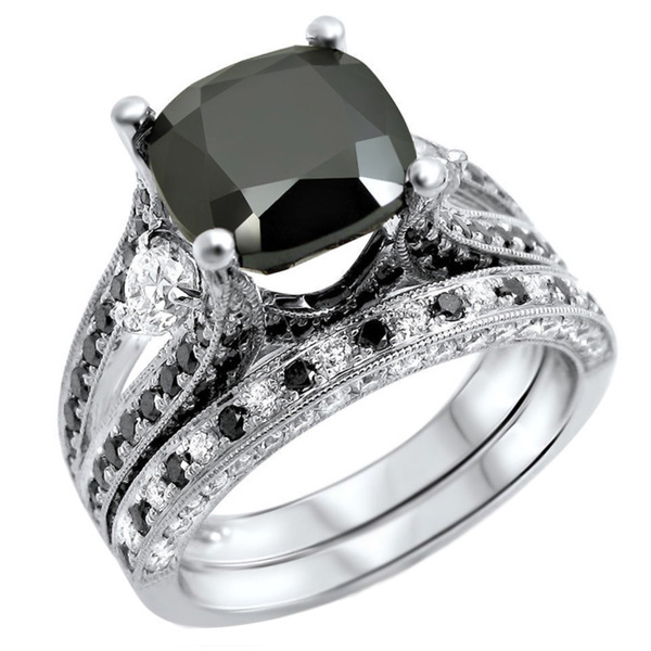 diamond stone classic product three p princess wedding set black engagement gold designer rings ring band solitaire