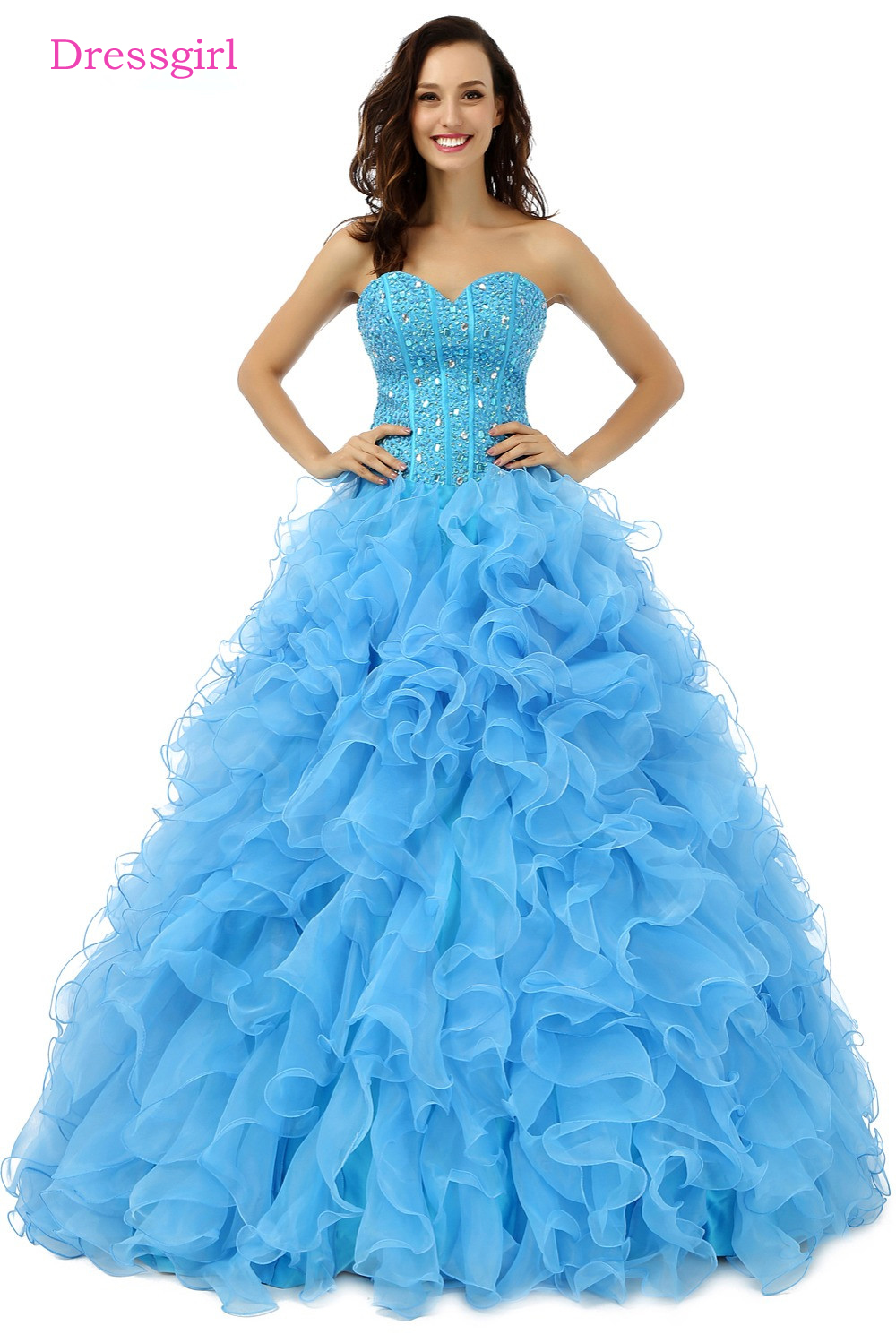 Hot 2019 Royal Blue Ball Gown Sweetheart Floor Length Organza Ruffles Beaded Crystals Cheap Coral Quinceanera Dresses