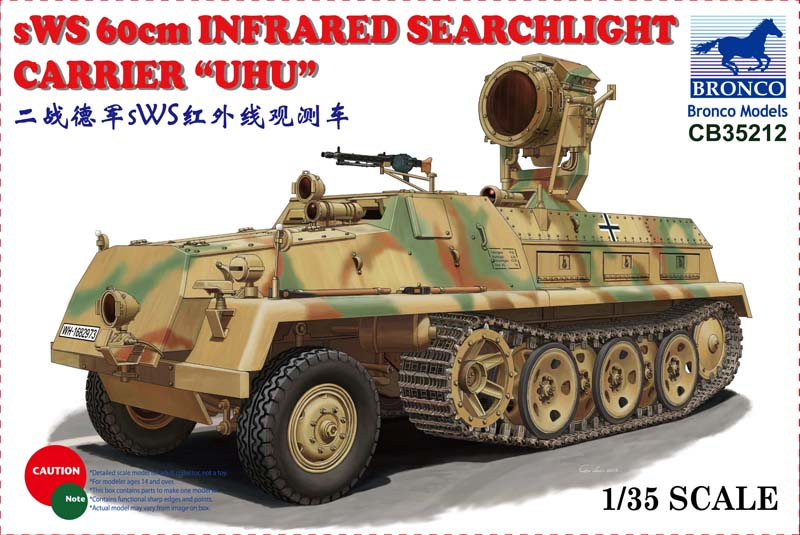 Bronco CB35212 1/35 WWII German sWS 60cm Infrared Searchlight Carrier UHU bronco model cb35054 1 35 wwii civilian 1937 german opel olympia car