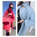 Manteau femme UK New Casual 2017 Fall / Winter Turquoise Blue Pink Woolen Tweed coat Women casaco feminino Female Cloth