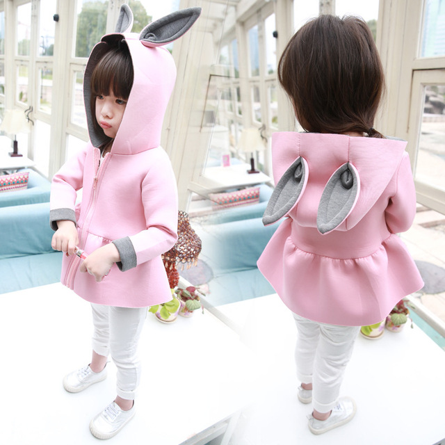 b92f710d8a88 Children Girls spring autumn winter outerwear clothing girl jackets coat  girl s lovely rabbit ear design baby kids warm clothes