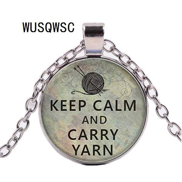 WUSQWSC Keep calm and wear yarn knit pendants, knit necklace charms, creases, glass photo cabochon necklaces