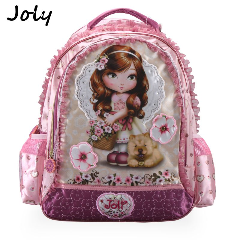 JOLY 2018 Girls School Bags Children Backpack Primary Bookbag Princess Flower Schoolbags Mochila Infantil Sac A Dos Enfant