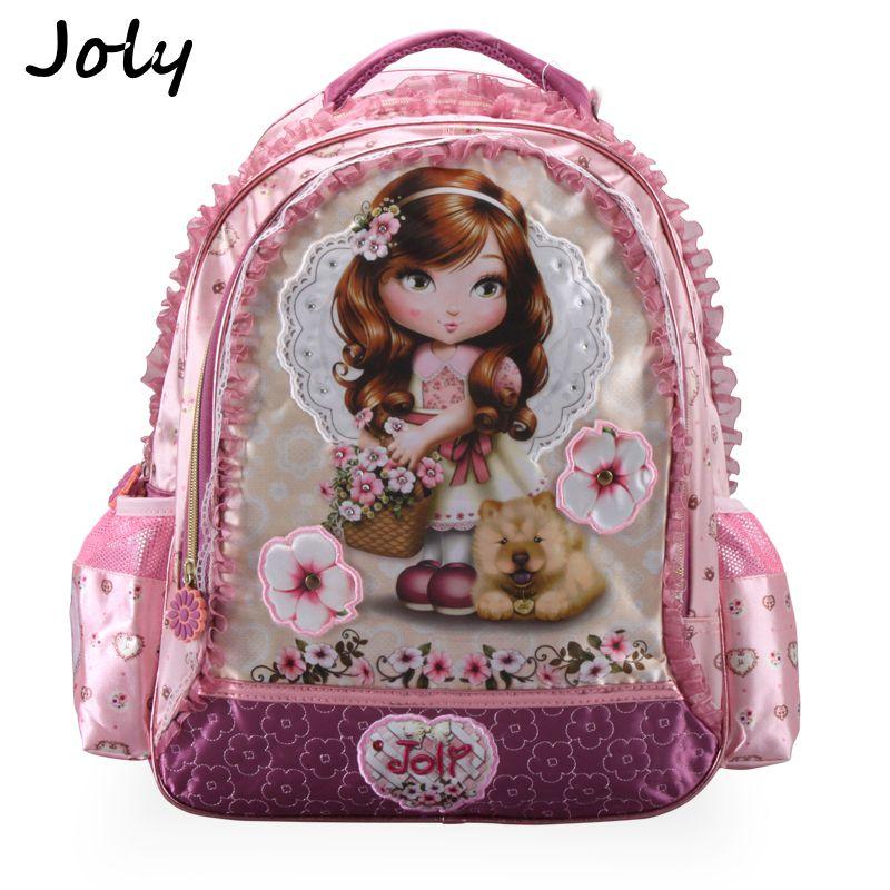 JOLY 2018 Girls School Bags Children Backpack Primary Bookbag Princess Flower Schoolbags Mochila Infantil Sac A Dos Enfant