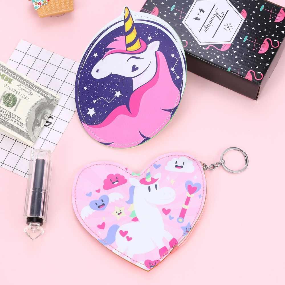 Mulheres de couro pu pequena bolsa da moeda da carteira da bolsa dos desenhos animados cavalo do bebê meninas embreagem pequena carteira titular do cartão de crédito bolsa