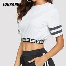 IUURANUS Women Crop Tops Summer Simple letter print Tshirt 2019 Female Short-Sleeve Casual Tee Fashion O-neck White T-shirt