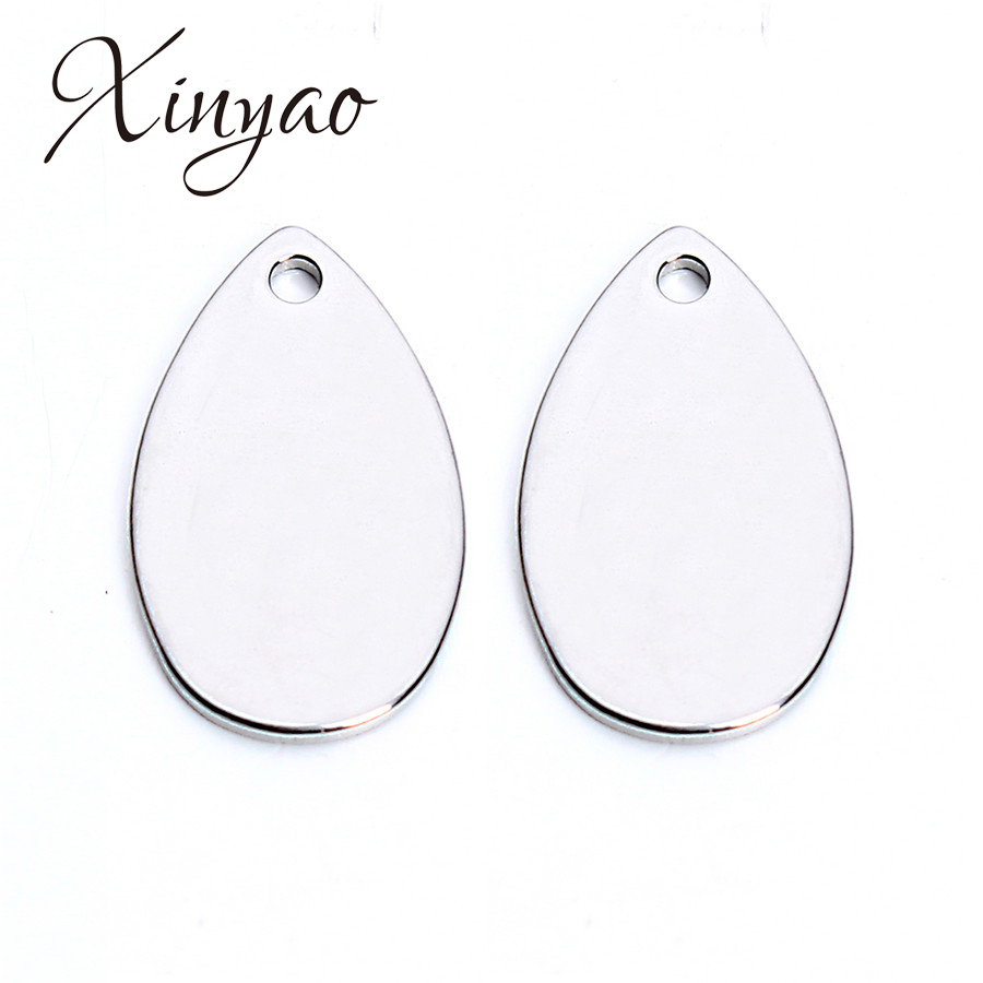 XINYAO 20Pcs/lot 10x18mm Stainless Steel Water Drop Charms