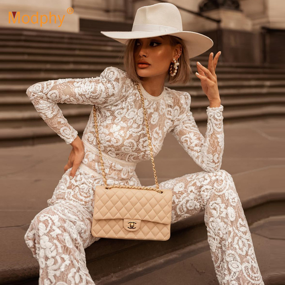 2019 New Women's Full Length Jumpsuit Spring Sexy White Bodycon Lace Wide Leg Jumpsuit Fashion Celebrity Party Jumpsuit