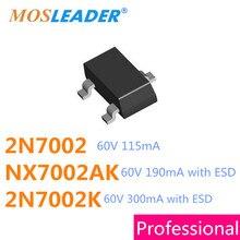 Mosleader SOT23 3000 adet 2N7002 2N7002K NX7002AK ESD Mosfet n kanal 60V 115mA 190mA 300mA NX7002 7002 702 2N7002LT1G