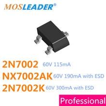 Mosleader SOT23 3000PCS 2N7002 2N7002K NX7002AK with ESD Mosfet N Channel 60V 115mA 190mA 300mA NX7002 7002 702 2N7002LT1G