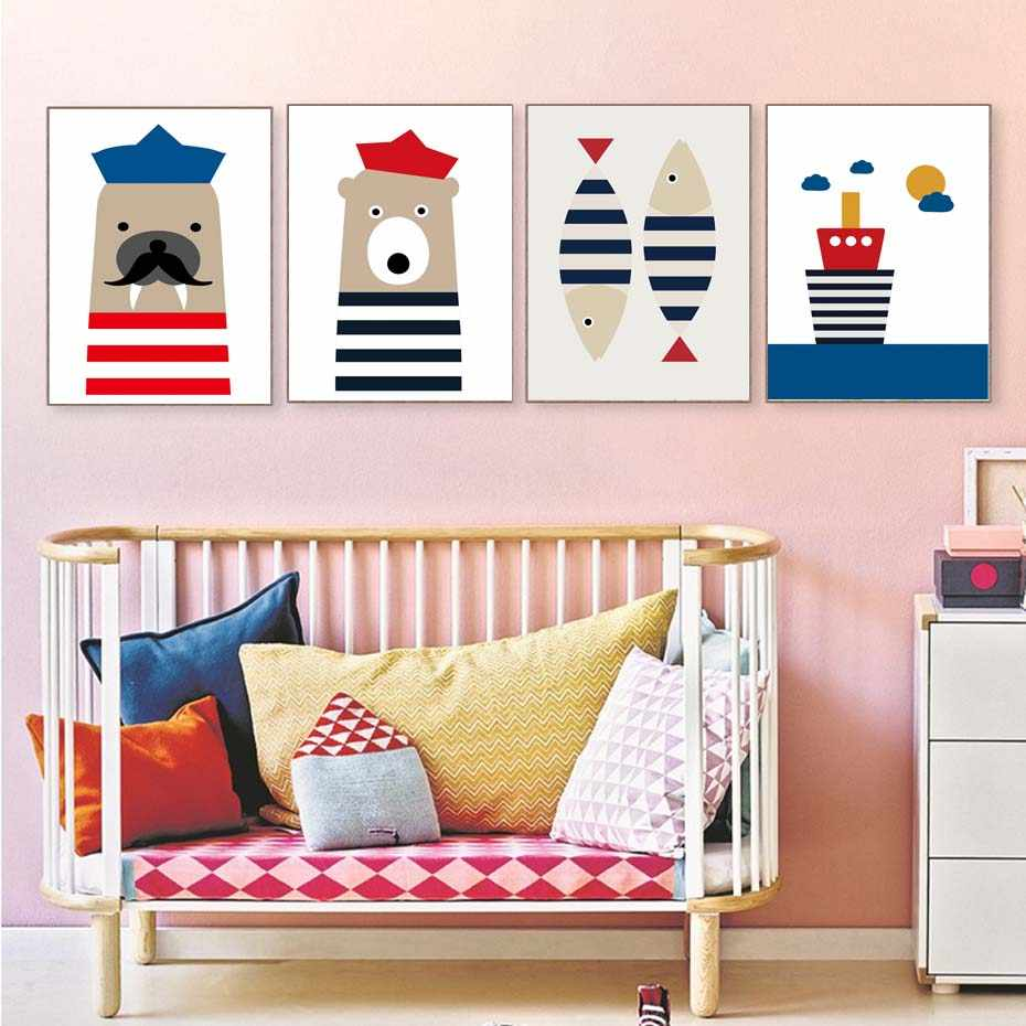 Cartoon Animals Sailor Style Ship Wall Art Prints For Kids Bedroom Modern Canvas Painting Modular Poster Wall Picture Home Decor