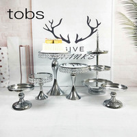 Cake Decorating Supply Wedding Set Tiered Mirror Cupcake Silver Plated Round Metal Fruit Stand
