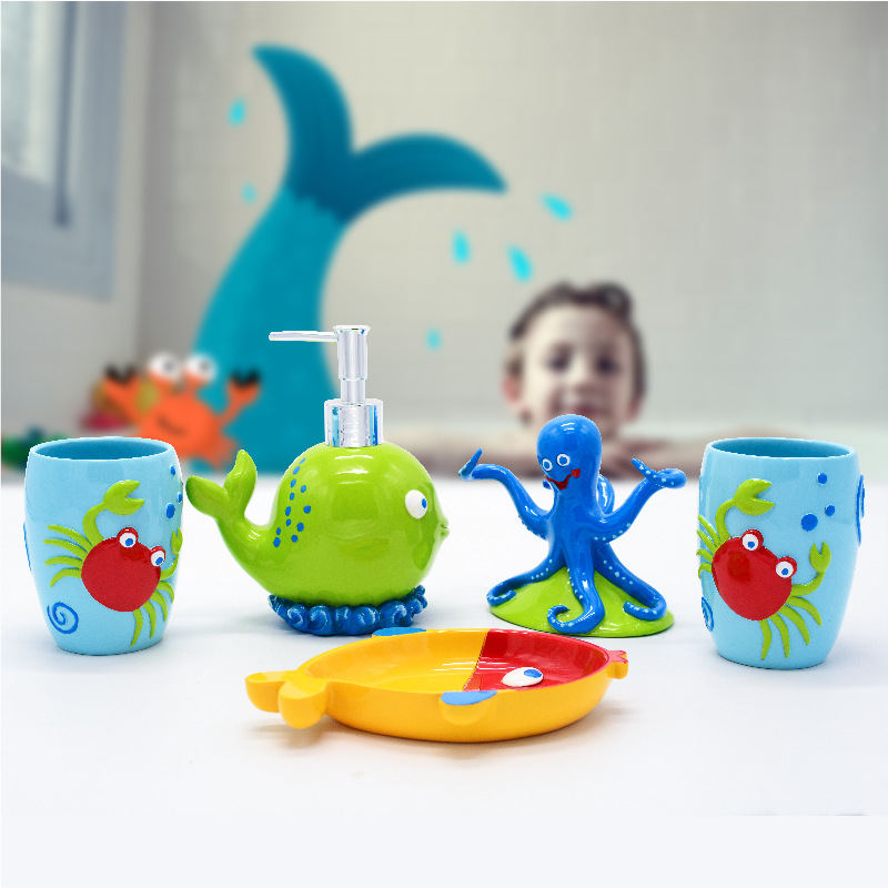 Kids Bathroom Accessories Set 5pcs Toothbrush Holder Bath Room Decor Lovely Cute Crab Octopus Whale Color