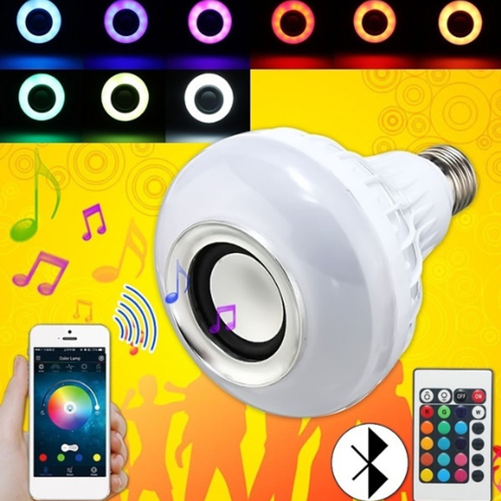 6 Вт E27 Bluetooth Дистанционное управление 24 клавиши RGB + холодный белый свет лампы музыка ...