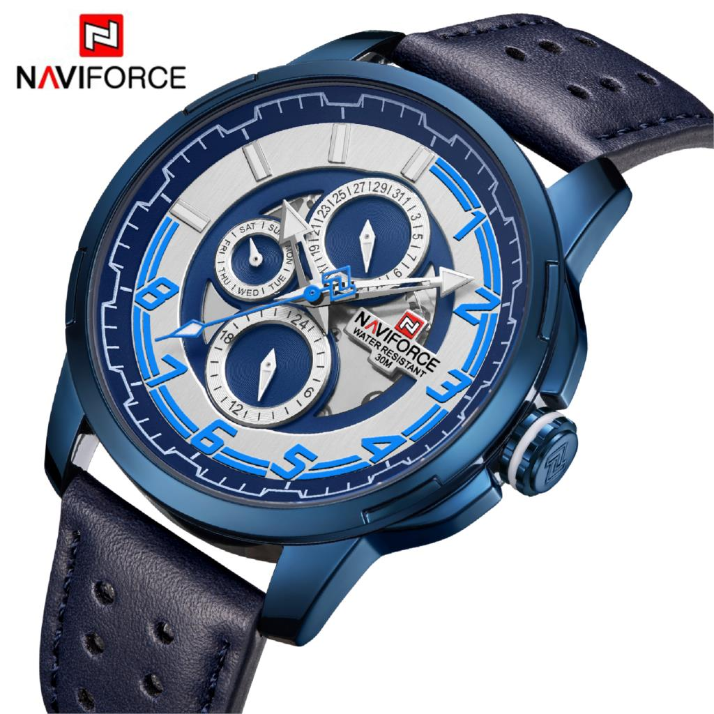 NAVIFORCE Mens Watches Top Brand Luxury Waterproof 24 Hour Date Quartz Watch Man Leather Sports Wrist Watch Men Waterproof Clock цена