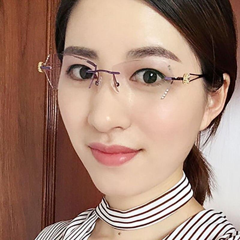 Lesen Brillen Damen Myopie Strass Lila Hohe Klar 2018 Linsen Dioptrien Rezept Randlose Frauen 7BnRB6AZq