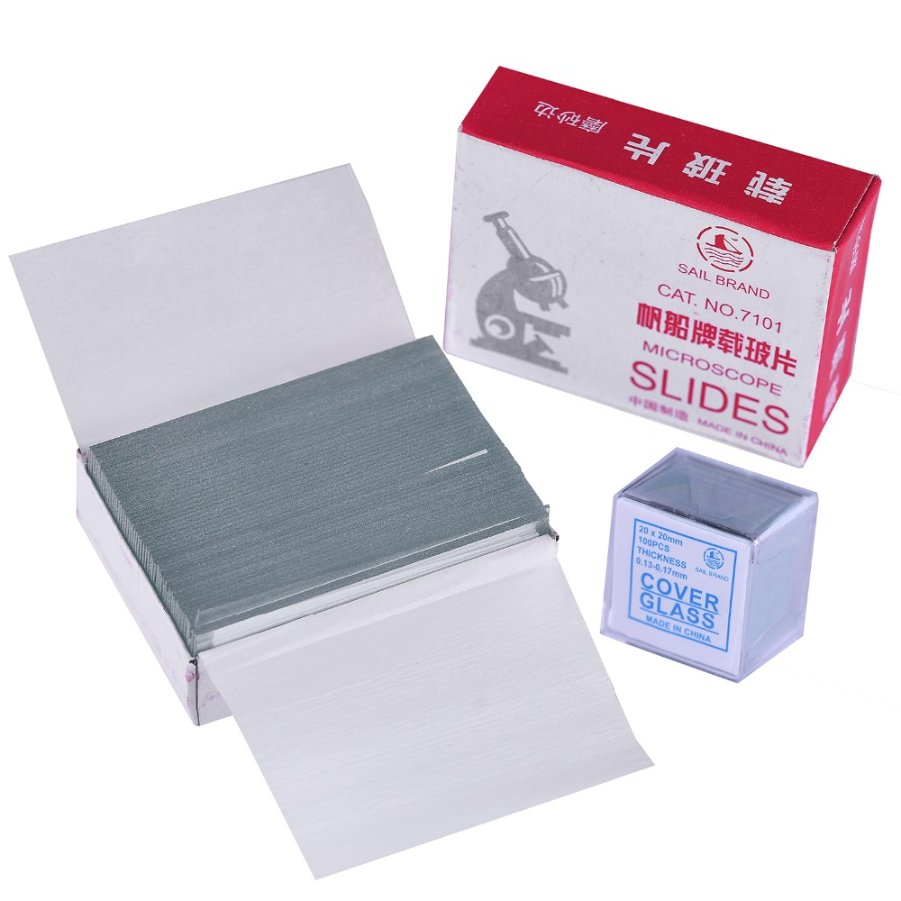 AMDSP 50pcs Slides 1.2mm Thick and 100 pcs Cover Glass for Preparation of Specimen for Biological Microscopes image