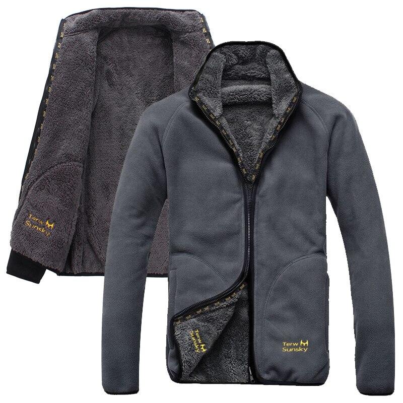Winter Outdoor jacket cold resistance Double side polar fleece pullover men's thickening and wool cardigan coat side slit fleece drop shoulder pullover hoodie
