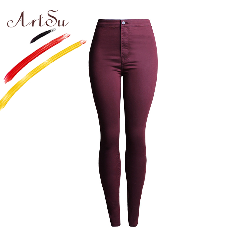 ArtSu Candy Color Women's Pants 2017 Spring Pencil Jeans Ladies Trousers High Waist Stretch Skinny Women Denim Pants ASPA20072 2017 new jeans women spring pants high waist thin slim elastic waist pencil pants fashion denim trousers 3 color plus size