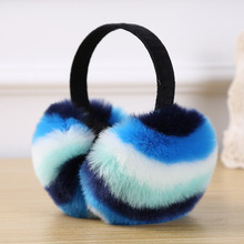 2018 New High Quality Unisex Real Rex Rabbit Fur Earmuffs Womens Ear Warmer Stripe Winter Kids Warm Color
