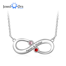 Customized Infinity Love Necklace with 2 Birthstones Personalized Name Engraved Jewelry Promise Gift(JewelOra NE103204)